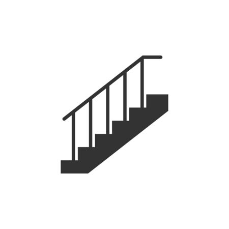 Vector illustration, flat design. Stair up icon