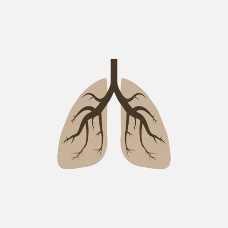 Vector illustration, flat design. Lungs medical icon Çizim