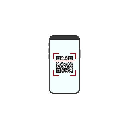 Vector illustration, flat design. Smartphone QRcode icon