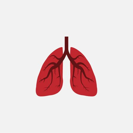 Vector illustration, flat design. Lungs medical icon Stock Illustratie