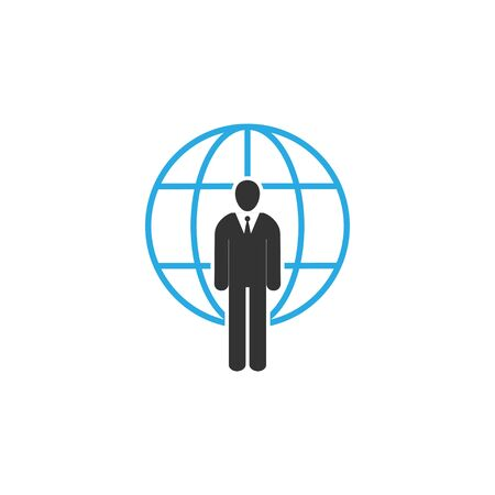Vector illustration, flat design Global user, businessman icon Illusztráció