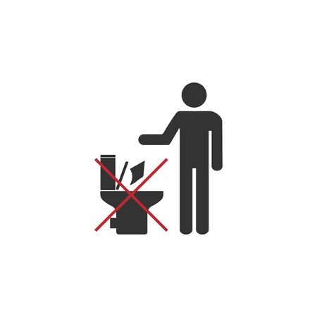 Vector illustration, flat design No toilet icon, No littering in toilet sign