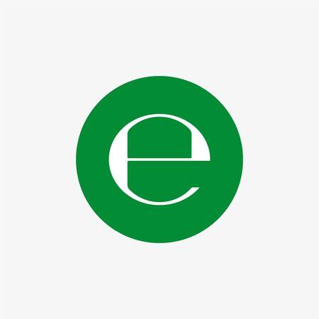 Vector illustration, flat design. Estimated sign, E mark symbol Illustration