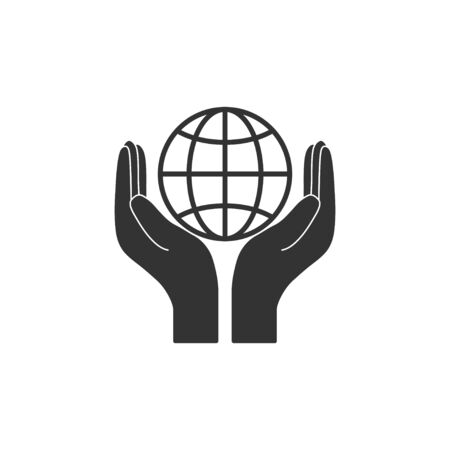 Vector illustration, flat design Hand with global icon Banco de Imagens - 133135205