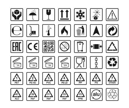 Icone di imballaggio, set di segni di pacchetto. Illustrazione vettoriale, design piatto.