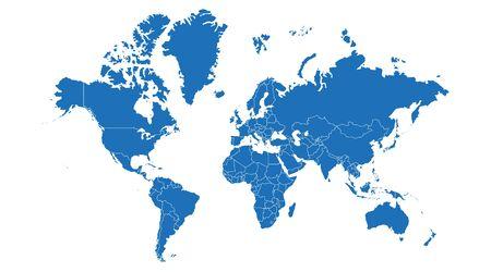 Illustration vectorielle de carte du monde sur fond blanc.