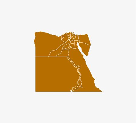 Egypt Map, states border map Vector