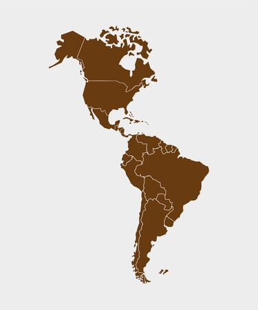 North America with country borders, vector illustration. Illustration