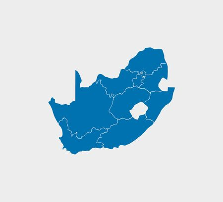 South Africa Map, states border map. Vector