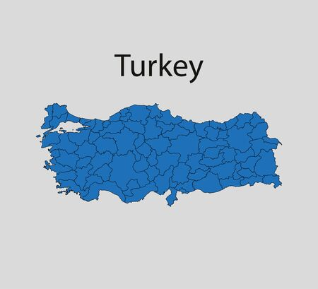 Turkey map, states border map. Vector illustration.