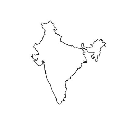 India Map, states border map Vector