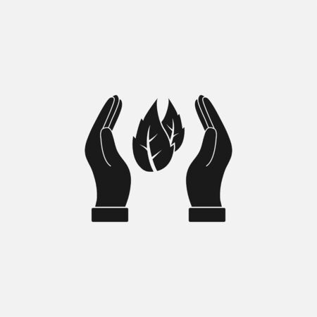 Leaf in hand icon. Vector illustration, flat