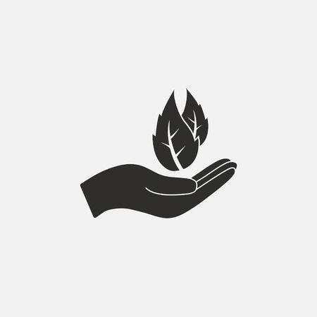 Vector illustration, flat design leaf in hand icon Illustration