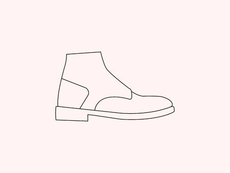 Vector illustration, flat design. Boot shoe icon