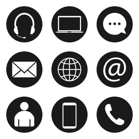 Set di icone di contatto. Illustrazioni vettoriali. Design piatto.