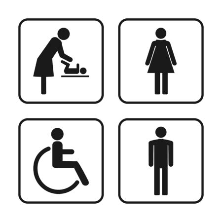 Simboli WC, segno WC, set di icone. Illustrazione vettoriale piatta Vettoriali