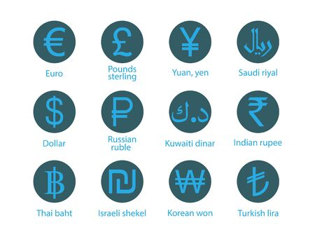 Currency, icon set Vector illustration flat