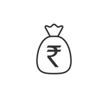Vector illustration, flat design Money bag, India rupee icon