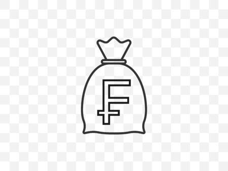 Vector illustration, flat design Swiss franc, money bag icon