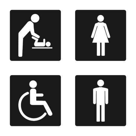 WC symbols, toilet sign, icon set. Vector illustration flat