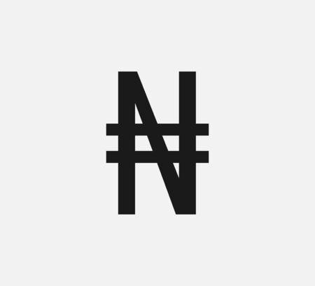 Vector illustration, flat design Nigerian Naira currency symbol Ilustração Vetorial