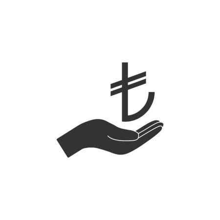 Vector illustration, flat design Hand, turkish lira icon