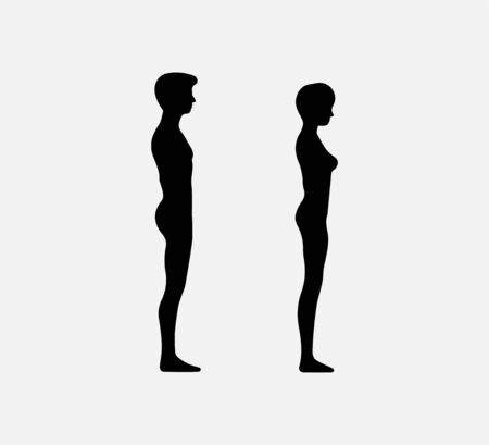 Woman and man silhouette. Vector illustration. Flat.