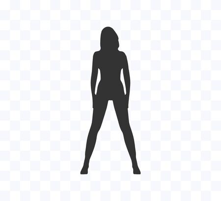Woman silhouette, back view Vector illustration. Flat.