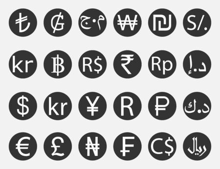 Currency symbol, icon set. Vector illustration flat 向量圖像
