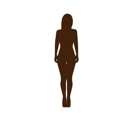 Woman silhouette, front view Vector illustration