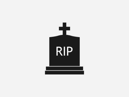 Vector illustration, flat design. Gravestone graveyard rip icon
