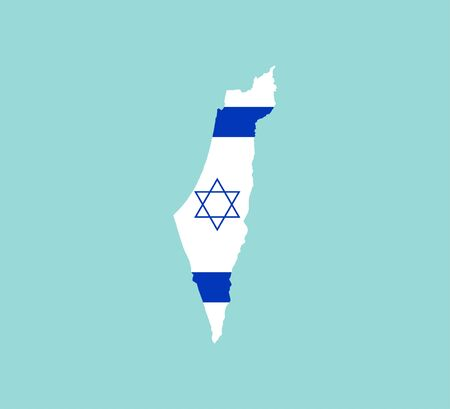 Vector illustration, flat design. Israel map flag
