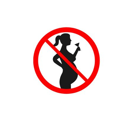 Vector illustration. Flat. Danger for pregnant not drink 일러스트