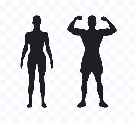 Vector illustration. Flat Woman man silhouette