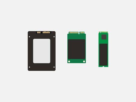 Vector illustration, flat design. Ssd mSATA, M2 SSD icon
