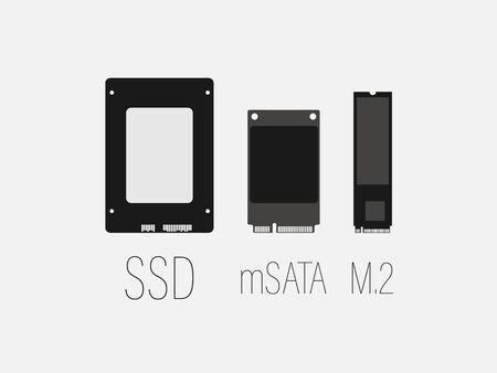 Vector illustration, flat design. Ssd mSATA, M2 SSD icon 矢量图片