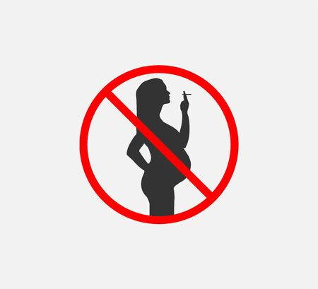 Vector illustration. Flat. Danger for pregnant no smoking