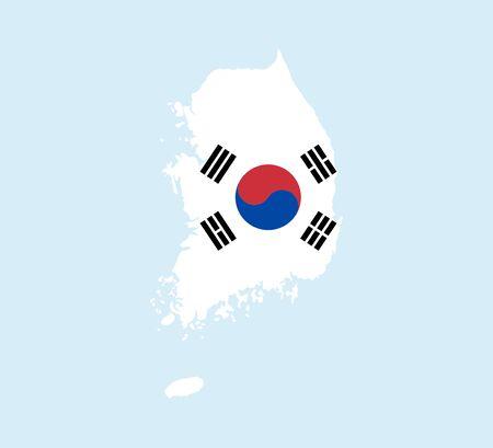 Vector illustration, flat design. South Korea map flag