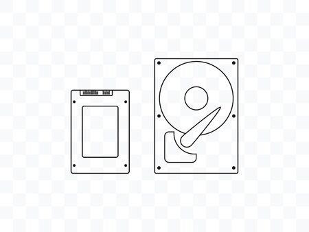 Vector illustration, flat design. HDD SSD icon