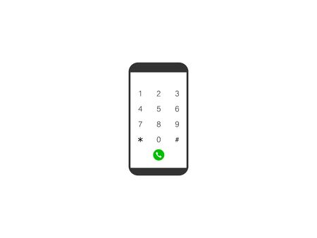 Vector illustration, flat design. Keypad smartphone icon