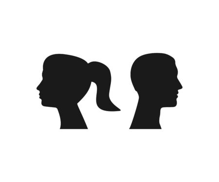 Woman, man head silhouette Vector illustration Banque d'images - 141876920