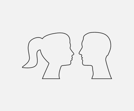 Woman, man head silhouette Vector illustration