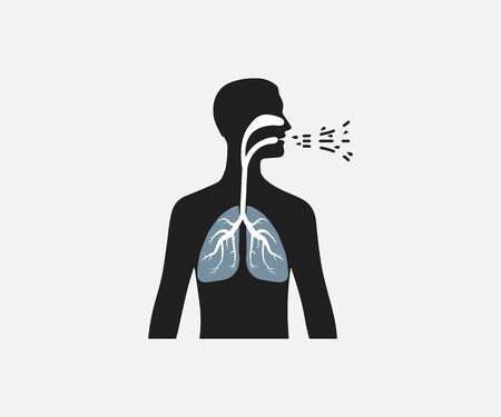 Vector illustration, flat design. Common cold, cough flu icon Ilustração