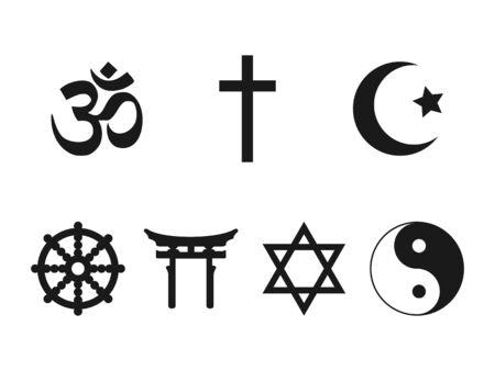 Vector illustration, flat design. Religious symbols icon set Vecteurs