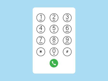 Vector illustration, flat design. Interface keypad numbers icon Vecteurs