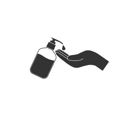 Vector illustration, flat design. Hand sanitizer icon Illustration