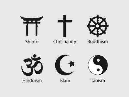Vector illustration, flat design. Religious symbols icon set