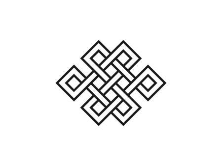 Vector illustration, flat design. Endless knot symbolism icon