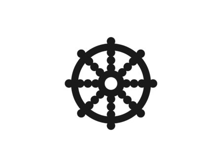Vector illustration, flat design. Wheel of Dharma Buddhism icon 向量圖像