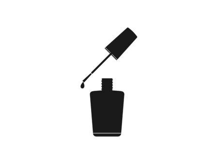 Vector illustration, flat design. Nail polish open bottle